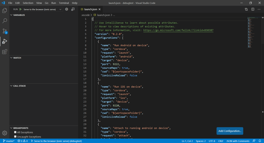 VS Code launch.json